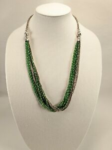 """Beautiful Vintage Multi Strand Green Glass & Silver Tone Seed Bead Necklace 28"""""""