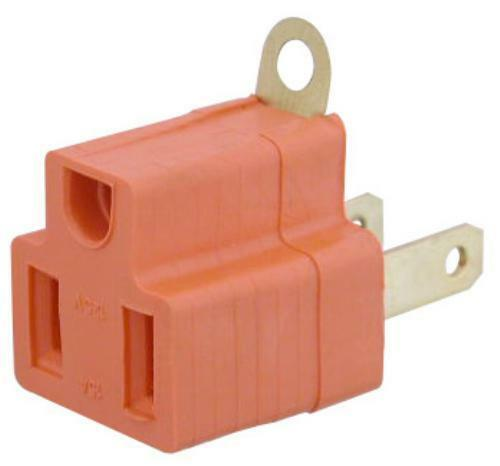 Lot100pk 2to3prong AC outlet ground//grounding power cord adapter NEMA5-15R~1-15P