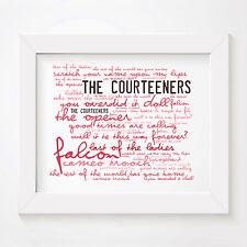 `Zephyr` THE COURTEENERS Art Print Typography Album Song Lyrics Signed Poster