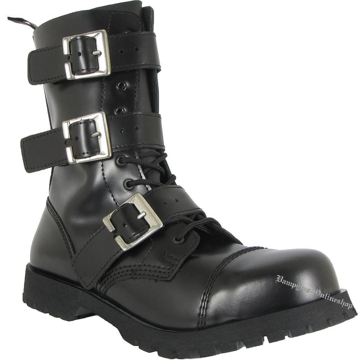 botas and braces 10 agujeros 3-hebillas cremallera negra, cuero botas zapatos