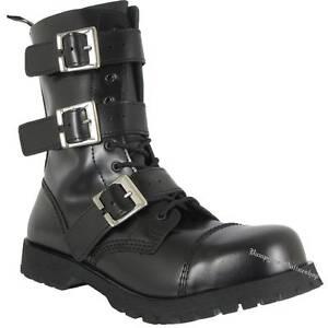 Boots And Braces 10-Loch 3-Schnallen Reißverschluss Schwarz Leder Stiefel Schuhe