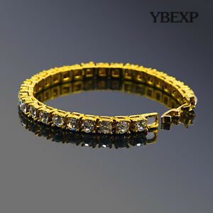 ATOP-Men-039-s-1Row-Gold-Plated-Silver-Black-Lab-Diamond-Tennis-Bracelet