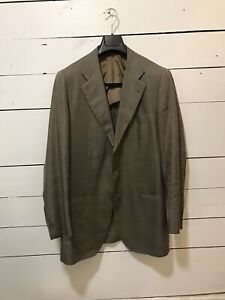 Immaculate-Kiton-Olive-Linen-Patch-Pocket-Suit-40-L-Made-in-Italy