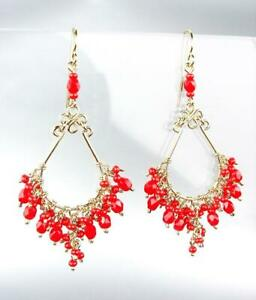 STUNNING-Artisanal-Coral-Red-Crystals-Gold-Wire-Chandelier-Dainty-Earrings-CE46