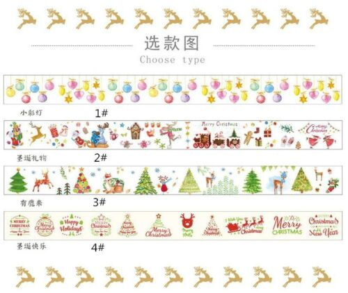 NEW Weihnachtsserie Dekoration Washi Tape Tagebuch Scrapbooking Stickers 5M