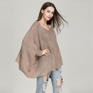 Womens-Off-Shoulder-Knitted-Sweater-Long-Bat-Sleeve-Tops-Ladies-Jumper-Pullover