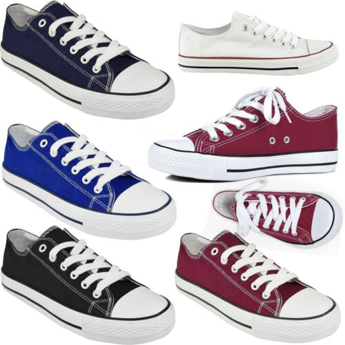 NEW WOMENS LADIES GIRLS LACE UP CASUAL FLAT CANVAS PLIMSOLLS SNEAKER TRAINERS