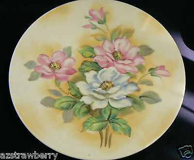 """Vintage Lefton Hand Painted China Rose Flowers Yellow Cream Plate signed 8.5"""""""