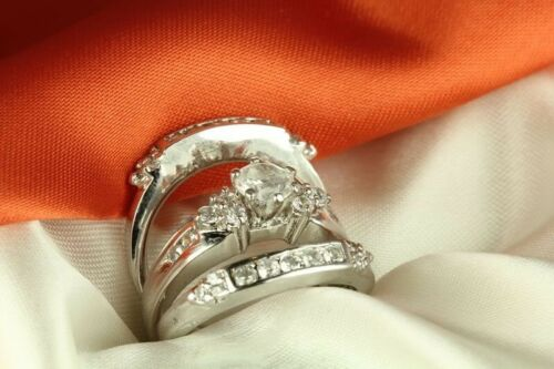STERLING SILVER 2.6CT ROUND SOLITAIRE CZ VINTAGE WEDDING ENGAGEMENT 3 RING SET