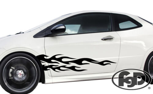 """Universal Car flames pinstripe Racing side graphics decals 53.5/"""" x 12/"""" 3F29"""