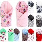 REVERSIBLE BABY SWADDLE WRAP MINKY BLANKET SOFT COSY COT, CRIB,PRAM QUILT COVER
