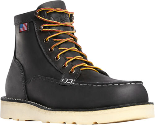 Details about  /Danner Bull Run Moc Toe Mens Black Leather 6in Work Boots