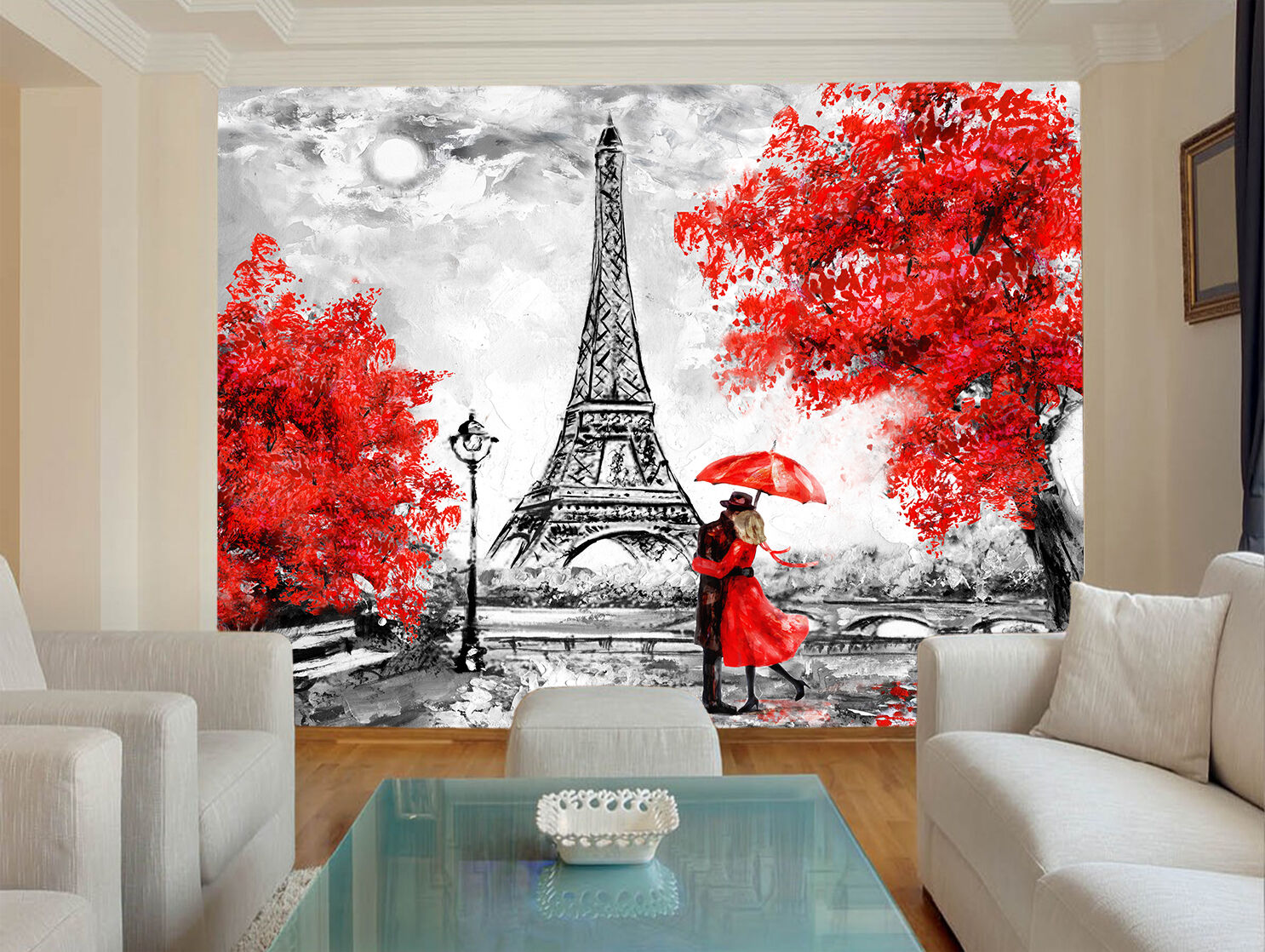 HQ Wall Mural Red White Black Paris Eiffel Tower Vintage Photo