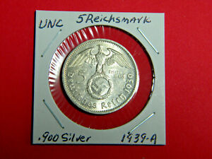 UNC-German-5-Mark-Silver-Coin-Third-Reich-Large-Swastika-Reichsmark-1939-A
