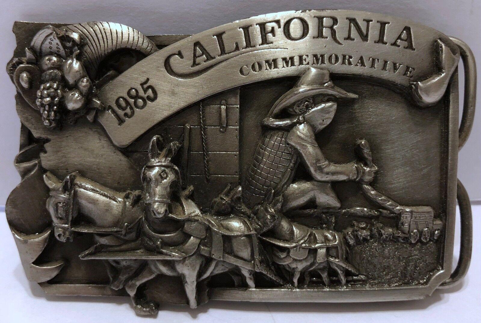 VTG Arroyo Grande California Commemorative Stagecoach Cowboy Buckle 1985 Bank