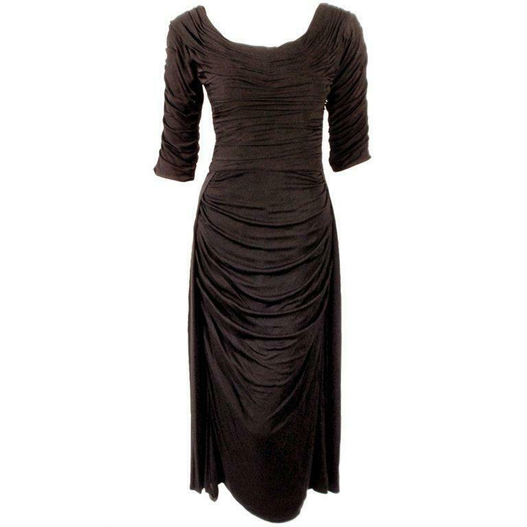 CEIL CHAPMAN Black Ruched Cocktail Dress with 3/4… - image 1