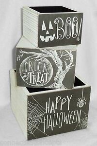 Halloween Primitives By Kathy Chalk Art Wooden Box Set of 3 - Happy Halloween