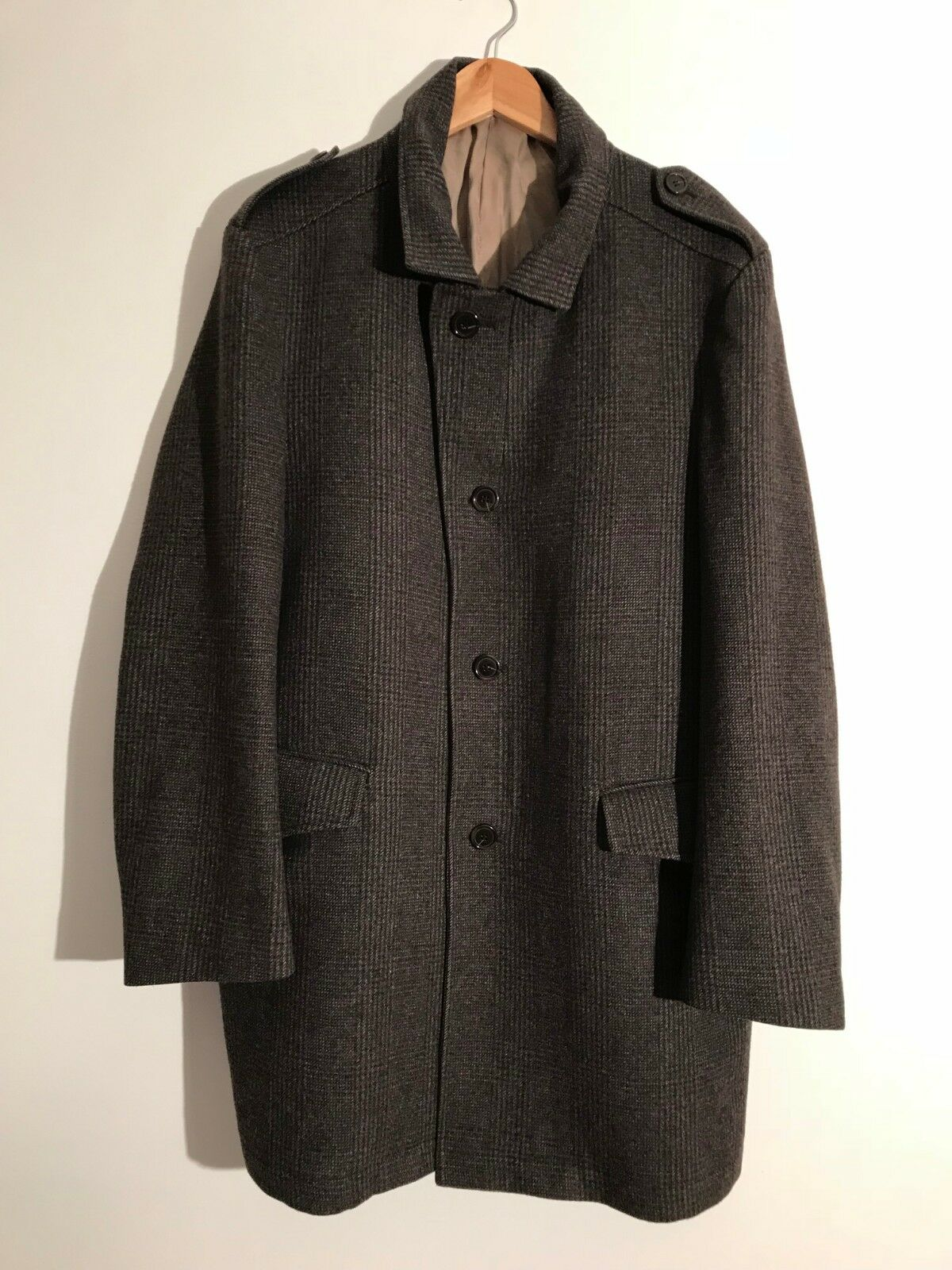 MARKS & SPENCER COLLEZIONE wool blend charcoal & dark brown tweed coat Large
