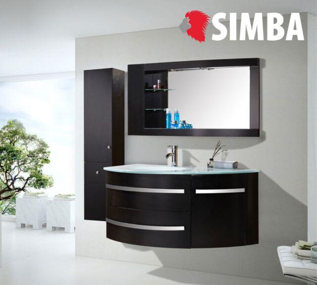 Simba Black Ambassador Meuble Salle de Bain Lavabo Vasque 120 cm - Noir