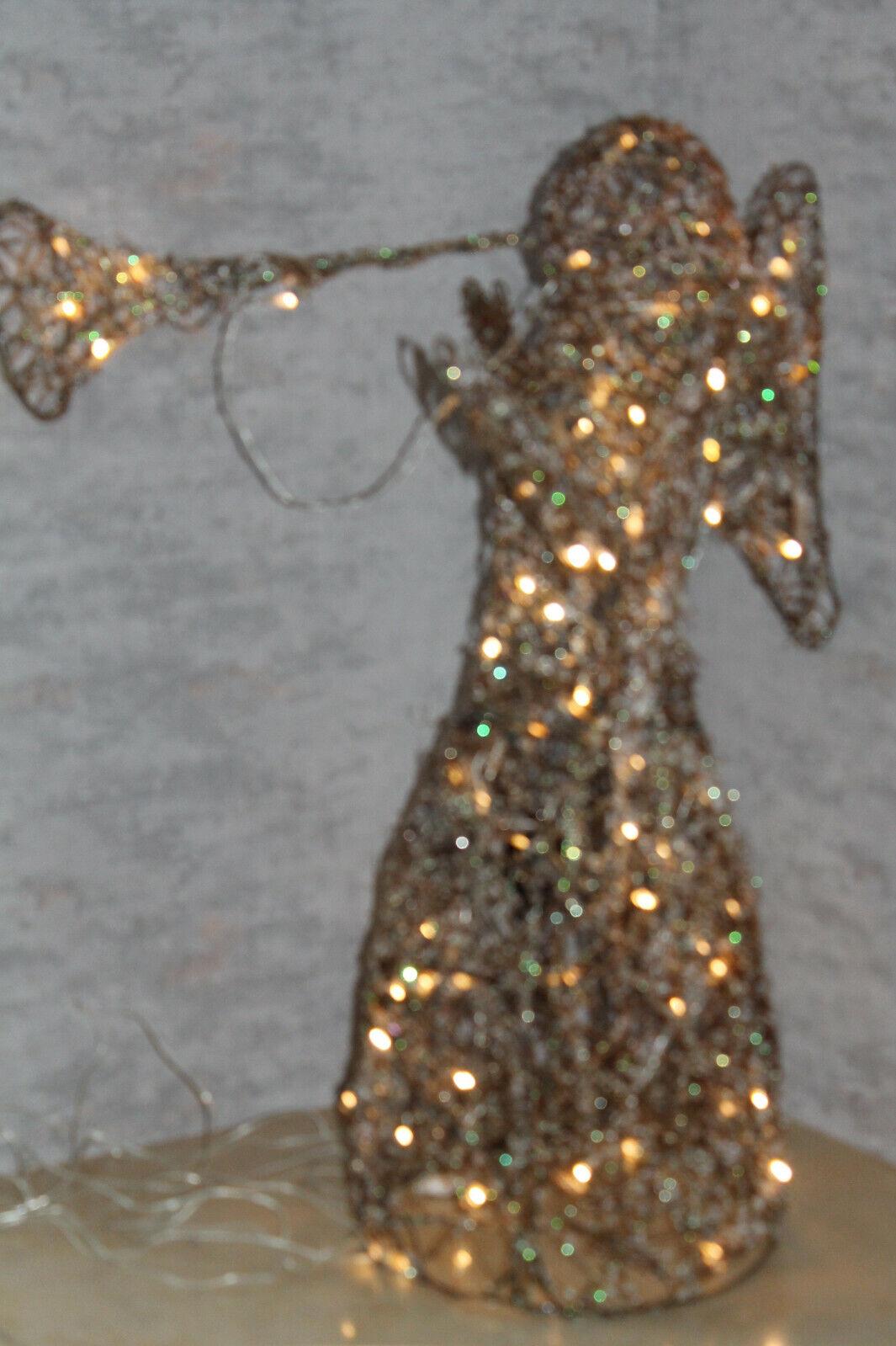 Rattan Engel mit Trompete stehend beleuchtet LED Weihnachtsbeleuchtung groß