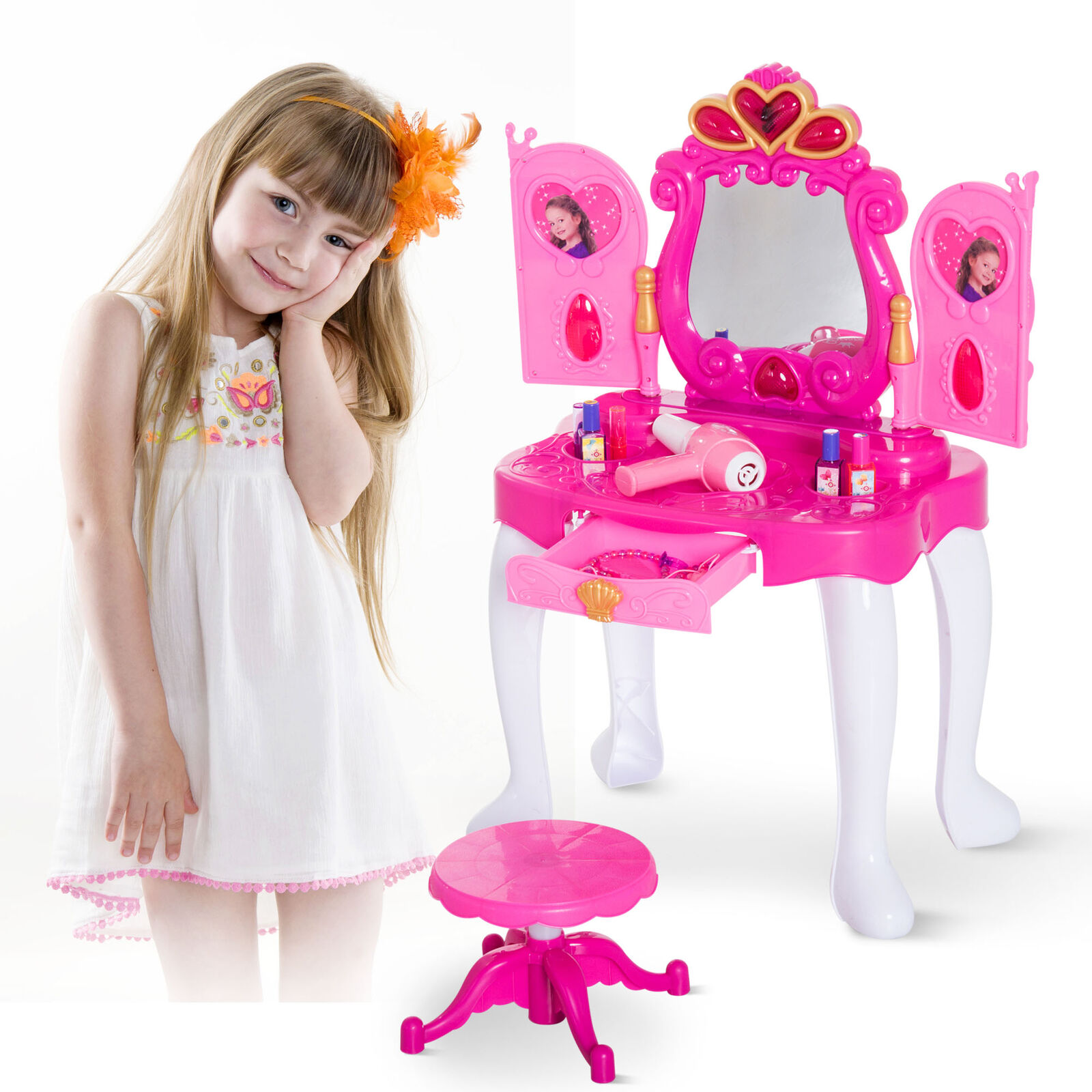 Dressing Table Girl Mirror Makeup Pretend Role Playset Stool Vanity LightΜsic