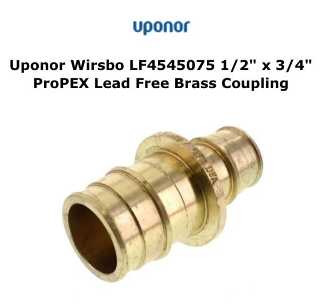 Uponor Wirsbo Lf4545075 Lead Brass Coupling 1/2