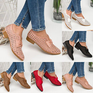 Womens-Flat-Loafers-Hollow-Out-Pointed-Toe-Bowknot-Slip-On-Office-Casual-Shoes
