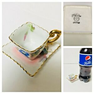VTG-TINY-TEACUP-amp-SAUCER-PETITE-FLORAL-TAKIRS-JAPAN-GOLD-TRIM-1-034-TALL