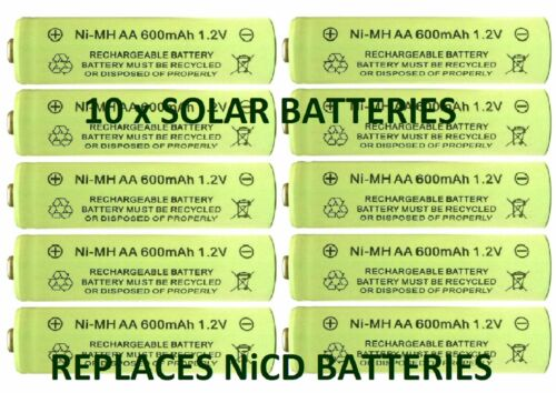 replaces NiCd 10 x AA 1.2V 600mAh NiMH Rechargeable Batteries for Solar Lights