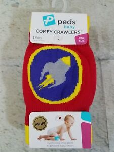 Peds-Baby-Knee-Pads-Comfy-Crawlers-Cushioned-Boys-Rocket-One-Size-Shower-Gift