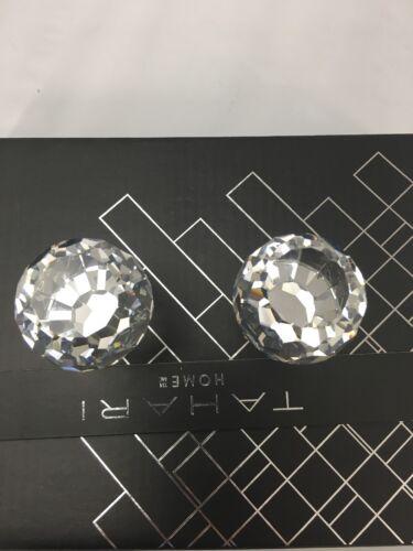 Tahari Diamond Cut Clear CRYSTAL Mirror Drawer Pulls Round Chrome Knobs Teardrop