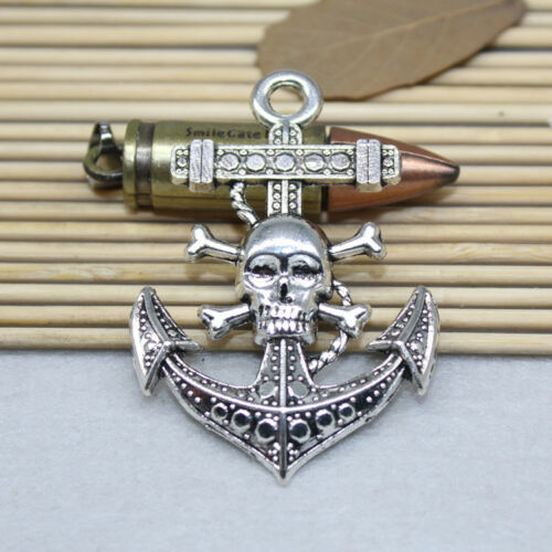 3//15pcs Antique silver lovely delicate pirate ships anchor charm pendant