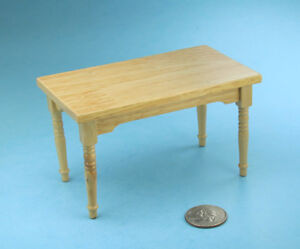 Nice 1 12 Scale Dollhouse Miniature Oak Wood Baker S Table Kitchen