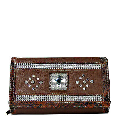 RED RHINESTONE CROSS LEATHERETTE LOOK CHECKBOOK TRIFOLD WALLET WESTERN BLING NEW