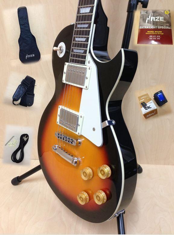 4/4 Haze SEG-277 Solid Body Les Paul Guitar - Sunburst + Gig Bag + Strings