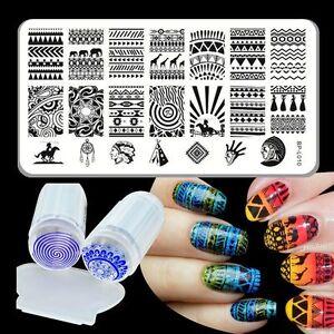 BORN-PRETTY-Nail-Art-Stamping-Plate-Aztec-Design-Image-Stamp-Stamper-Scraper-Kit
