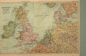 1908-Carte-Iles-Britanniques-Holland-Belgique-Danemark-Irlande-Angleterre-Ecosse