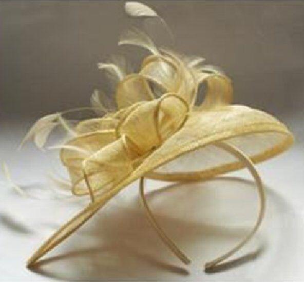 Sinamay fascinator/headband hair wedding beige natural clear yellow
