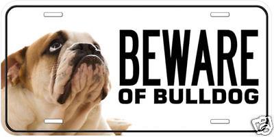 Beware of Bulldog Aluminum Any Name Personalized Novelty Car License Plate