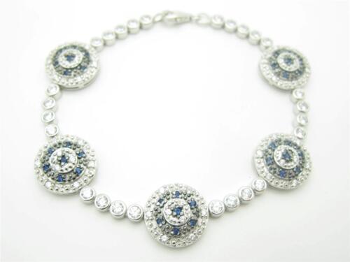 PLATINUM STERLING SILVER DIAMOND SET SAPPHIRE EVIL EYE TENNIS KABBALAH BRACELET