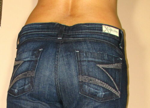 $178 Dylan/&George Alexandra Flare Jeans Dark Tzar Distressed 26 2 Made in USA
