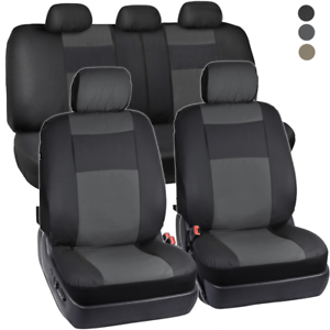 PU-Vinyl-Leather-Car-Seat-Covers-9-Pieces-Front-amp-Rear-Full-Interior-Set