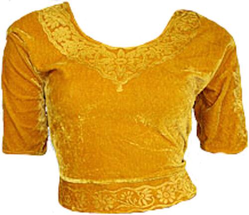 Gold Samt Top Choli für Bollywood Sari Gr S bis 3XL