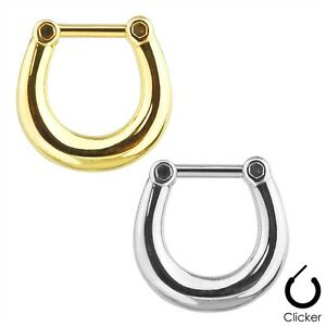 316L-Surgical-Stainless-Steel-Septum-Clicker-Piercing-Ring-Silver-or-Gold-IP