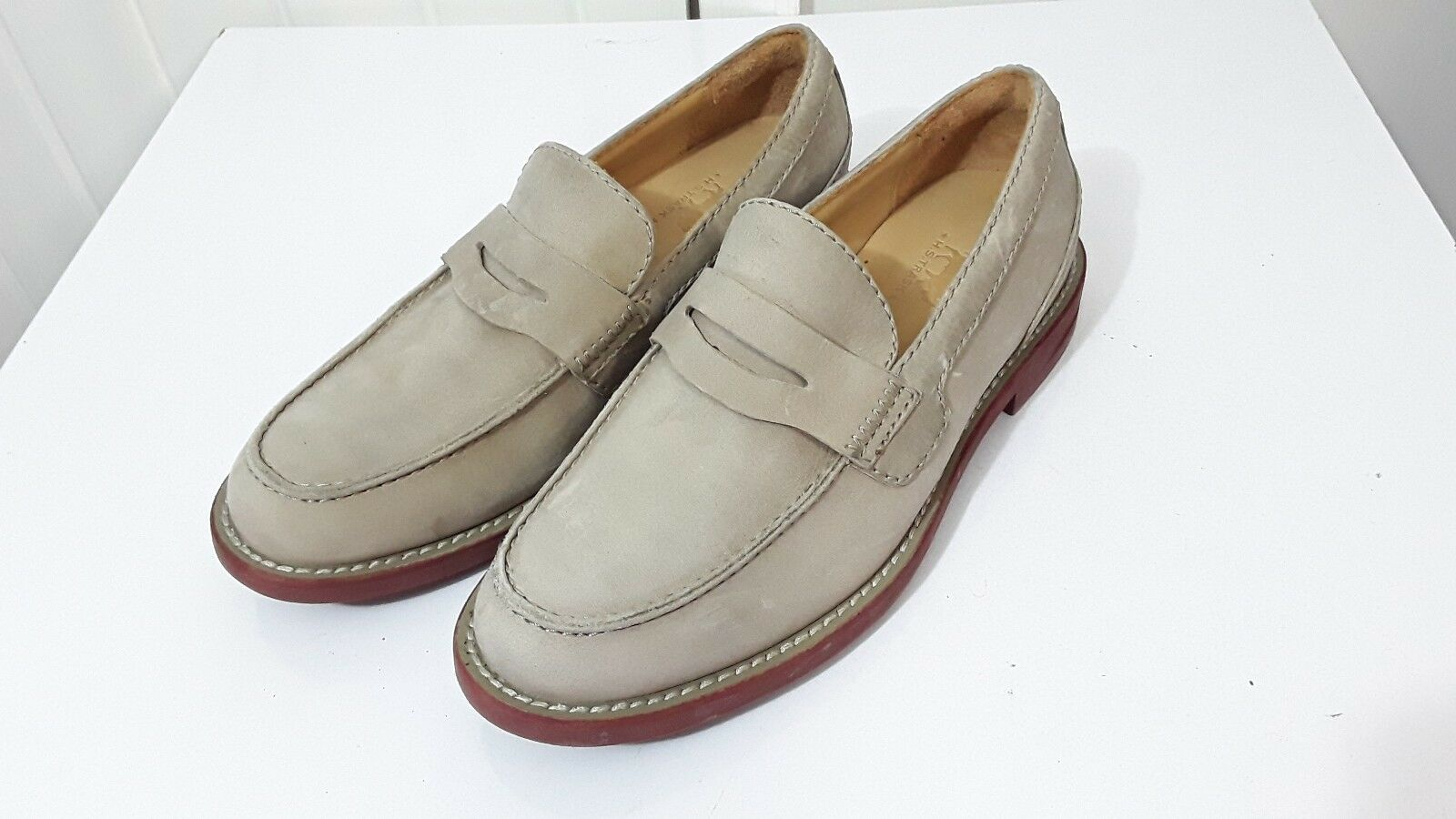 H.S TRASK MENS SZ 8.5  PENNY LOAFERS NEUTRAL TAUPE SUEDE LEATHER SHOES