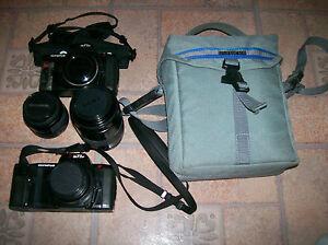Olympus om77af 35mm SLR Camera, Lenses, Straps, Case, Manuals