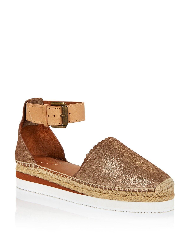See by Chloé oro espadr Plana Zapatos De Mujer Sat01