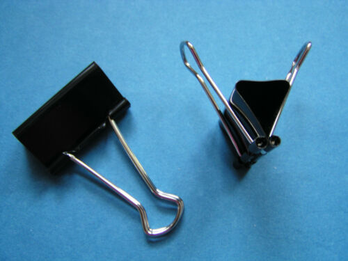 OVP 12 Foldback-Klammern 41mm schwarz Paperclips Vielzweckklammern Binder neu