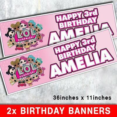 2 LOL Surprise personalised birthday banners 914mm x 279mm.