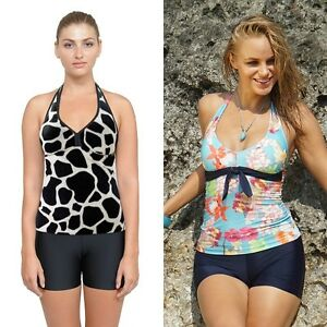 Women Two Piece Swimsuits Ladies Boy Shorts Tankini Black Swimwear
